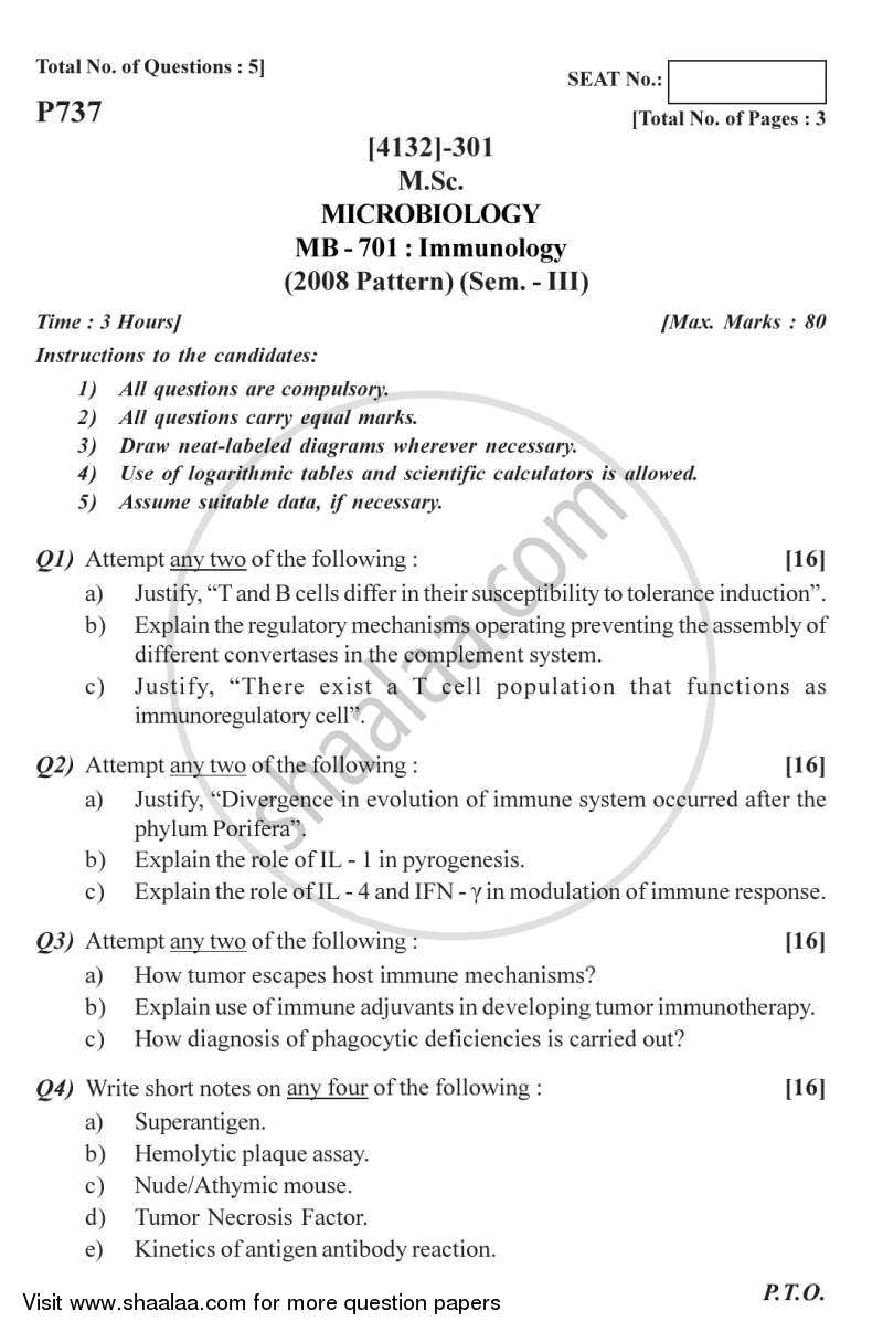 Question Paper - Immunology 2011 - 2012 - M.Sc. - Semester 3 - University of Pune