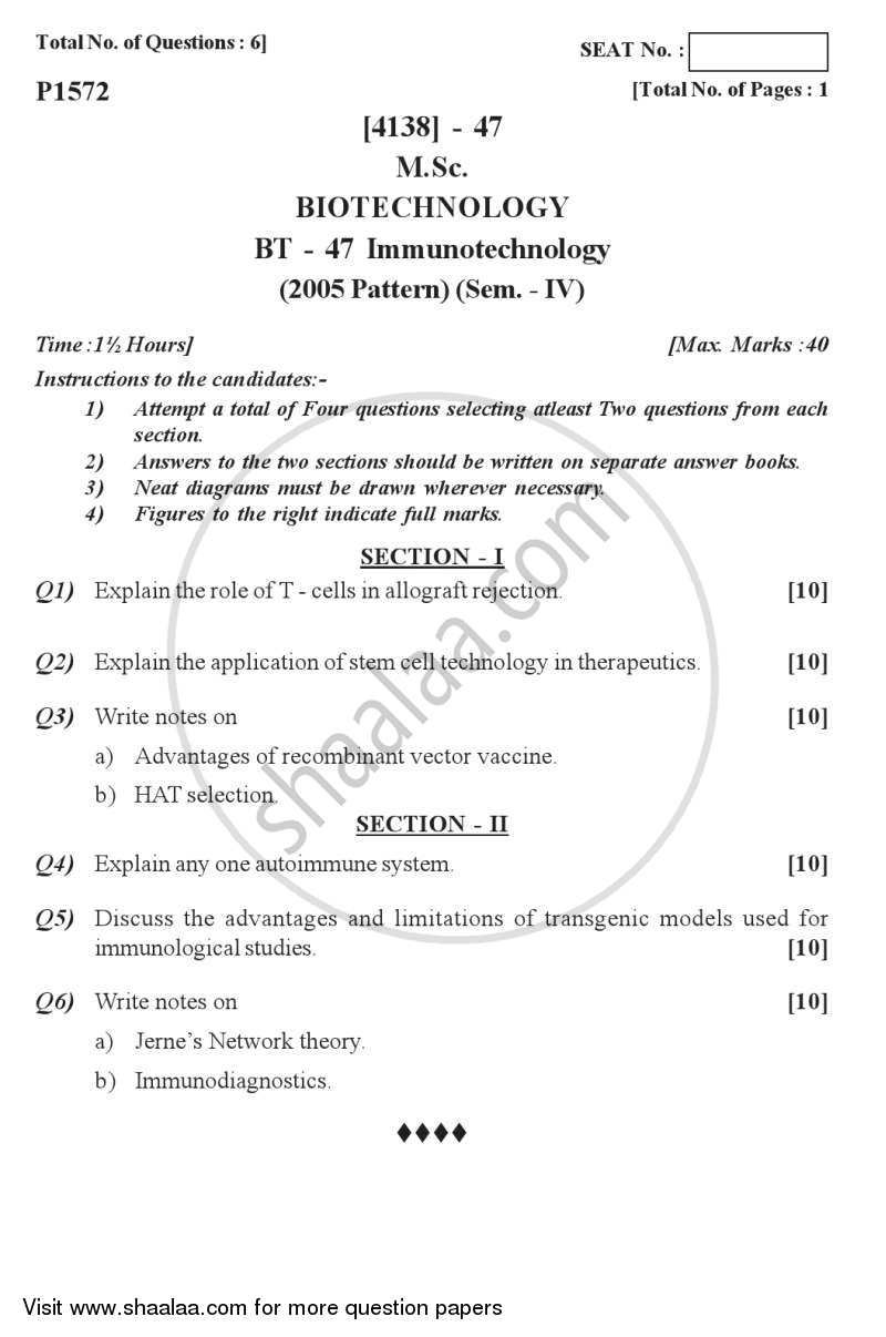 Question Paper - Immunology 2011 - 2012 - M.Sc. - Semester 4 - University of Pune