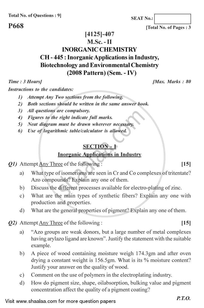 Question Paper - Inorganic Applications in Industry, Biotechnology and Environmental Chemistry 2011 - 2012 - M.Sc. - Semester 4 - University of Pune