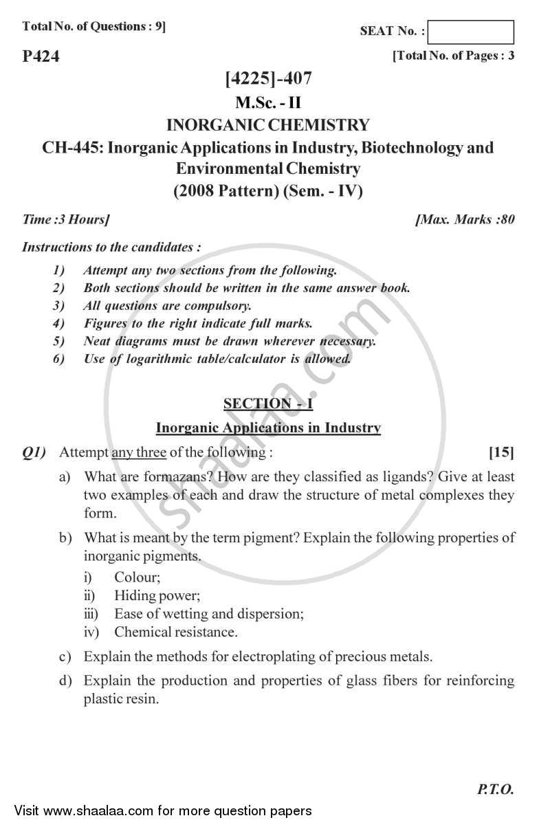 Question Paper - Inorganic Applications in Industry, Biotechnology and Environmental Chemistry 2012 - 2013 - M.Sc. - Semester 4 - University of Pune