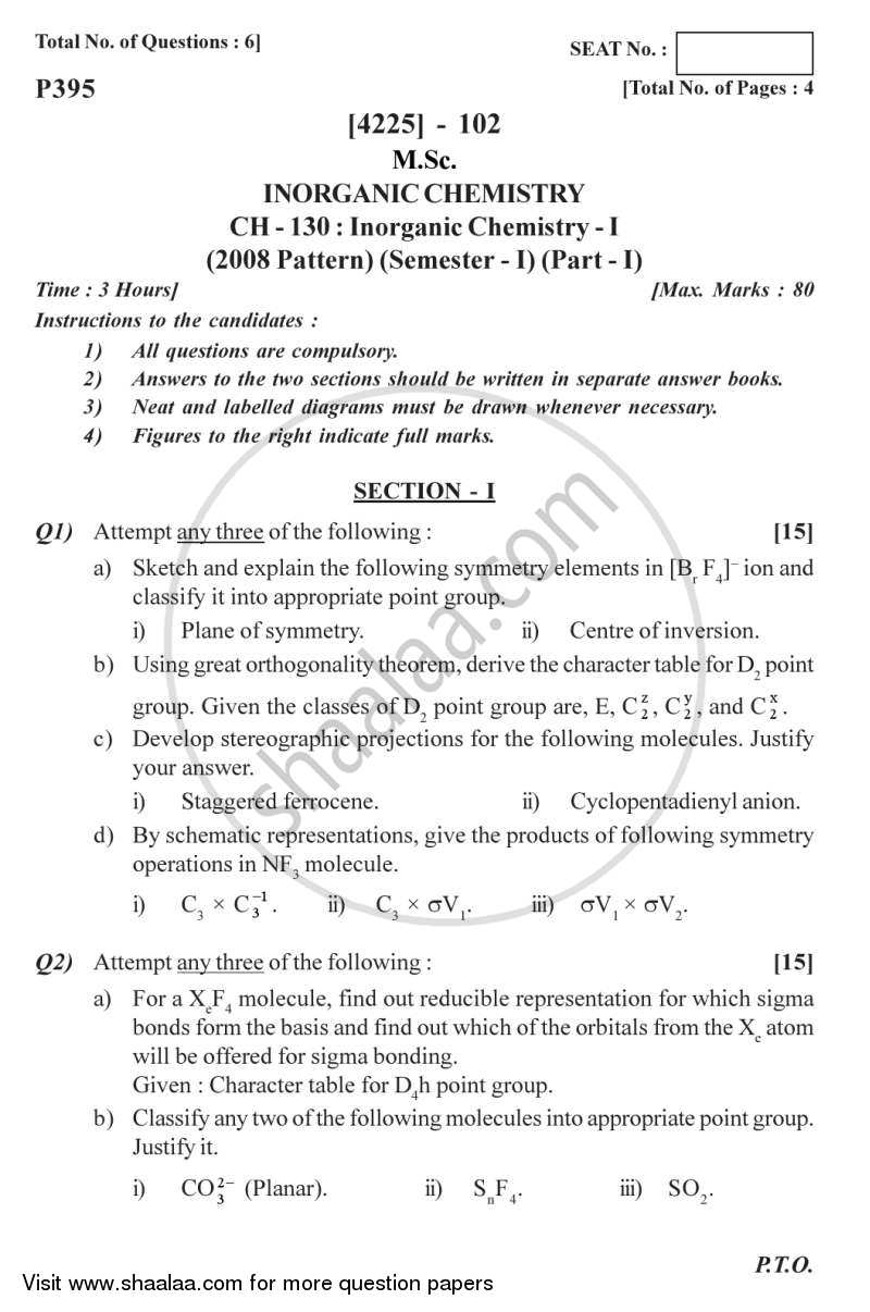 Question Paper - Inorganic Chemistry 1 2012 - 2013 - M.Sc. - Semester 1 - University of Pune