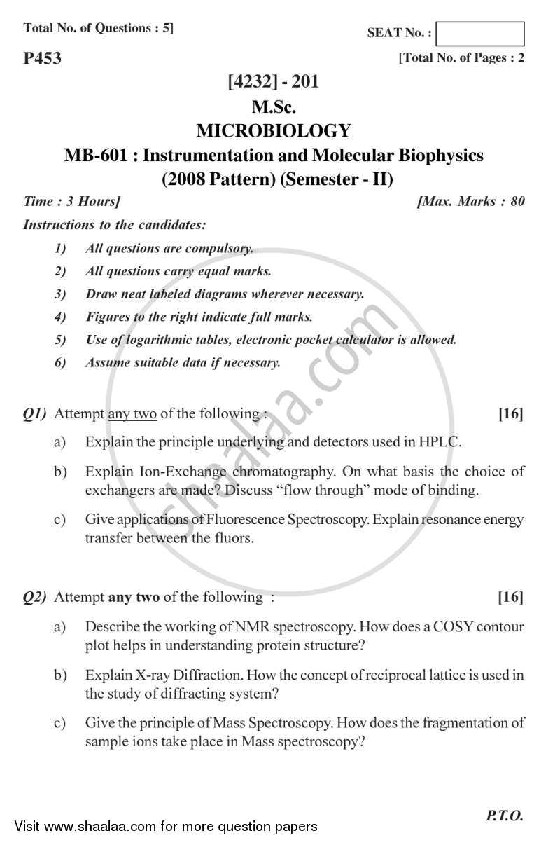 Question Paper - Instrumentation and Molecular Biophysics 2012 - 2013 - M.Sc. - Semester 2 - University of Pune