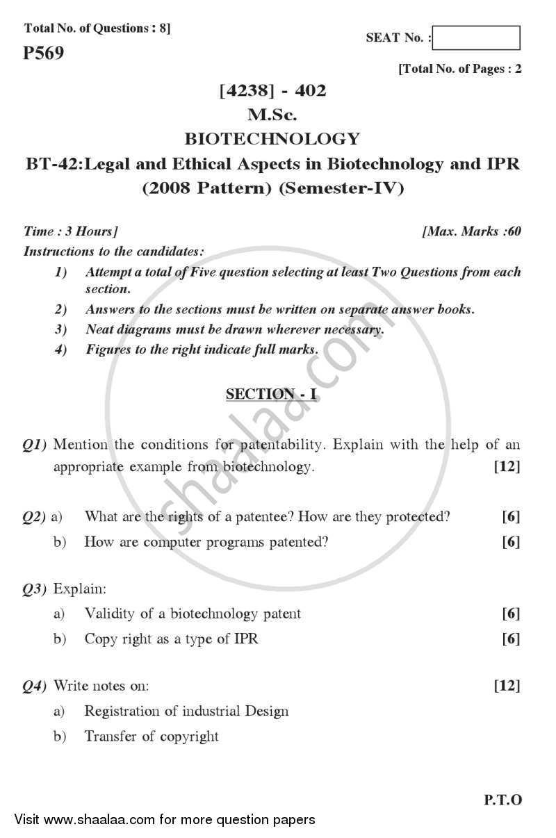 Question Paper - Legal and Ethical Aspects in Biotechnology and IPR 2012 - 2013 - M.Sc. - Semester 4 - University of Pune