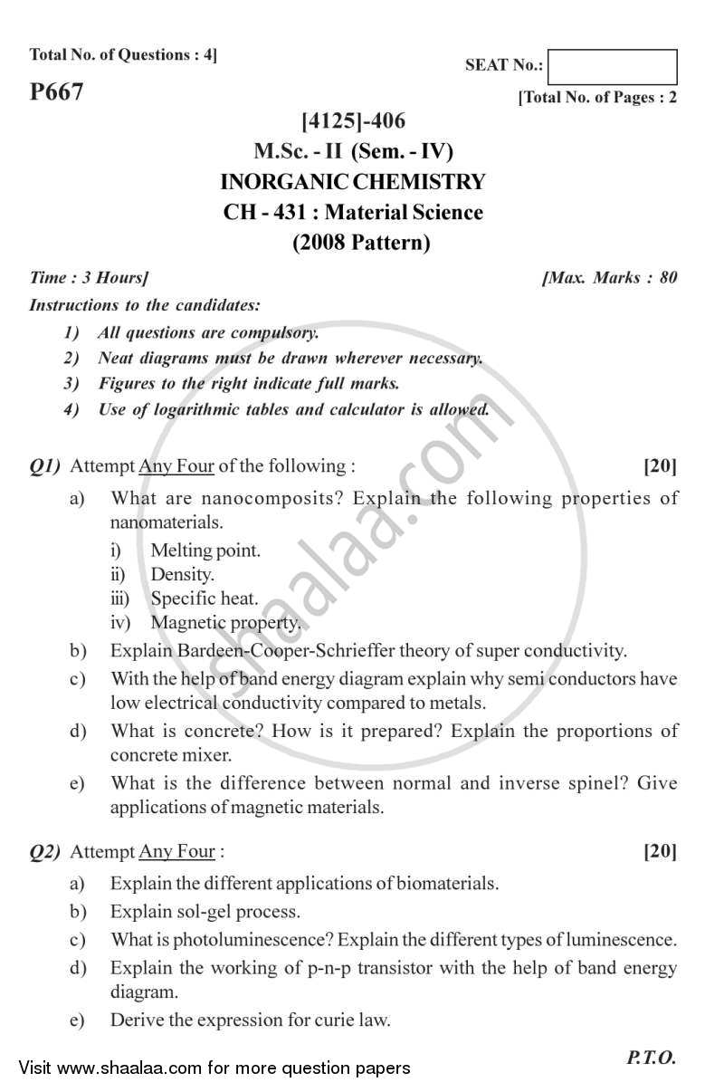 question paper materials science m sc semester question paper materials science 2011 2012 m sc semester 4