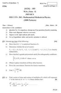 Classical Mechanics 2012-2013 M Sc Physics Semester 1