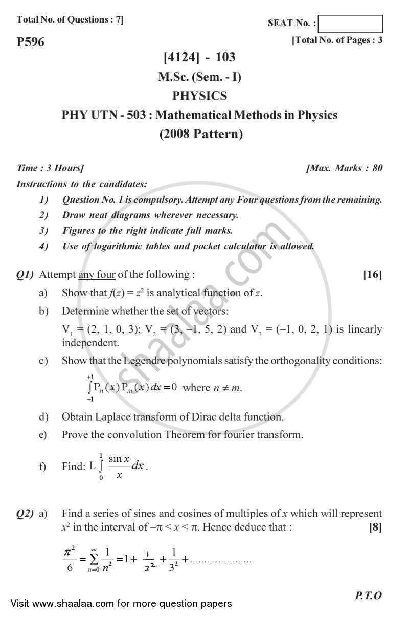 Question Paper - Mathematical Methods in Physics 2011 - 2012 - M.Sc. - Semester 1 - University of Pune