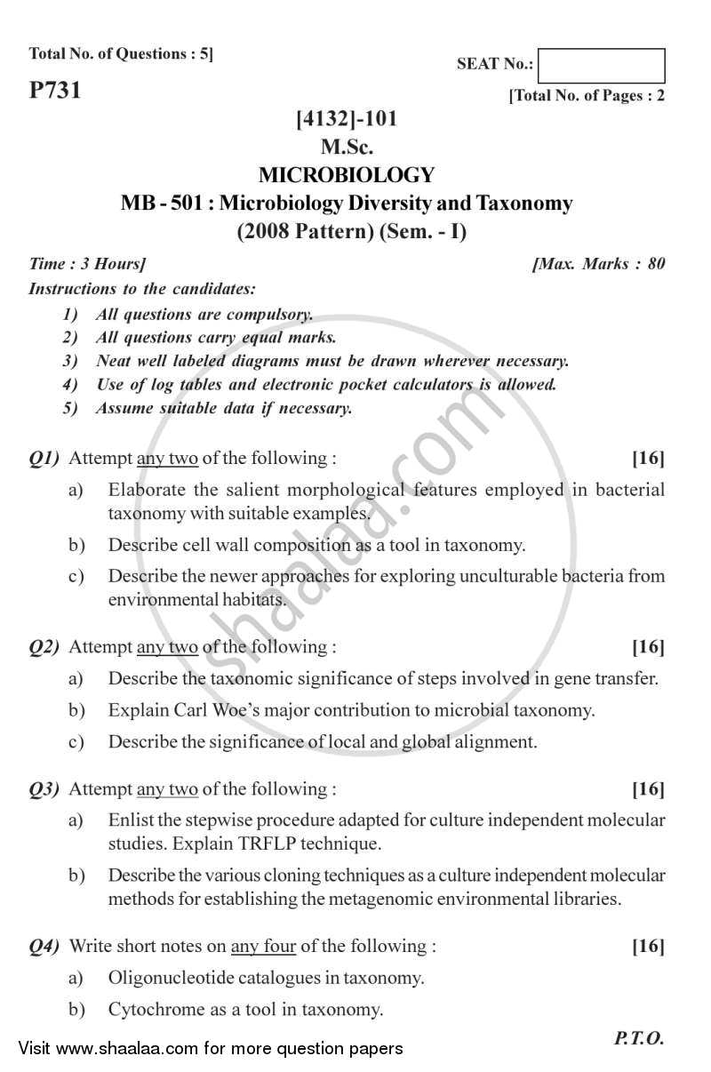 Question Paper - Microbial Diversity and Taxonomy 2011 - 2012 - M.Sc. - Semester 1 - University of Pune