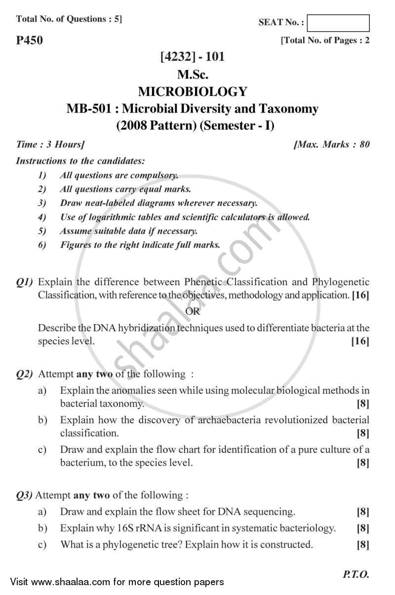 Question Paper - Microbial Diversity and Taxonomy 2012 - 2013 - M.Sc. - Semester 1 - University of Pune