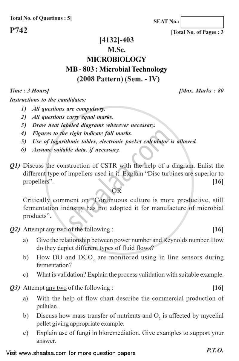 Microbial Technology 2011-2012 - M.Sc. - Semester 4 - University of Pune question paper with PDF download