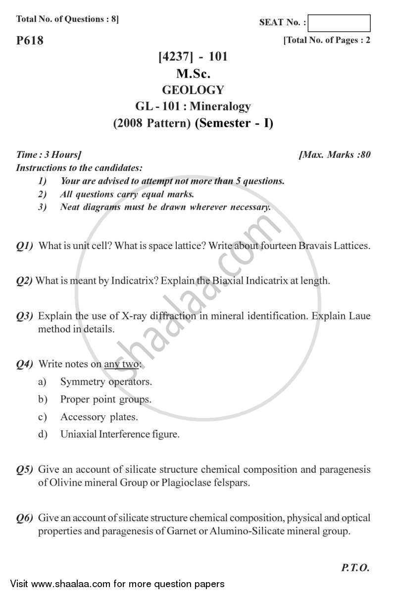 Question Paper - Mineralogy 2012 - 2013 - M.Sc. - Semester 1 - University of Pune