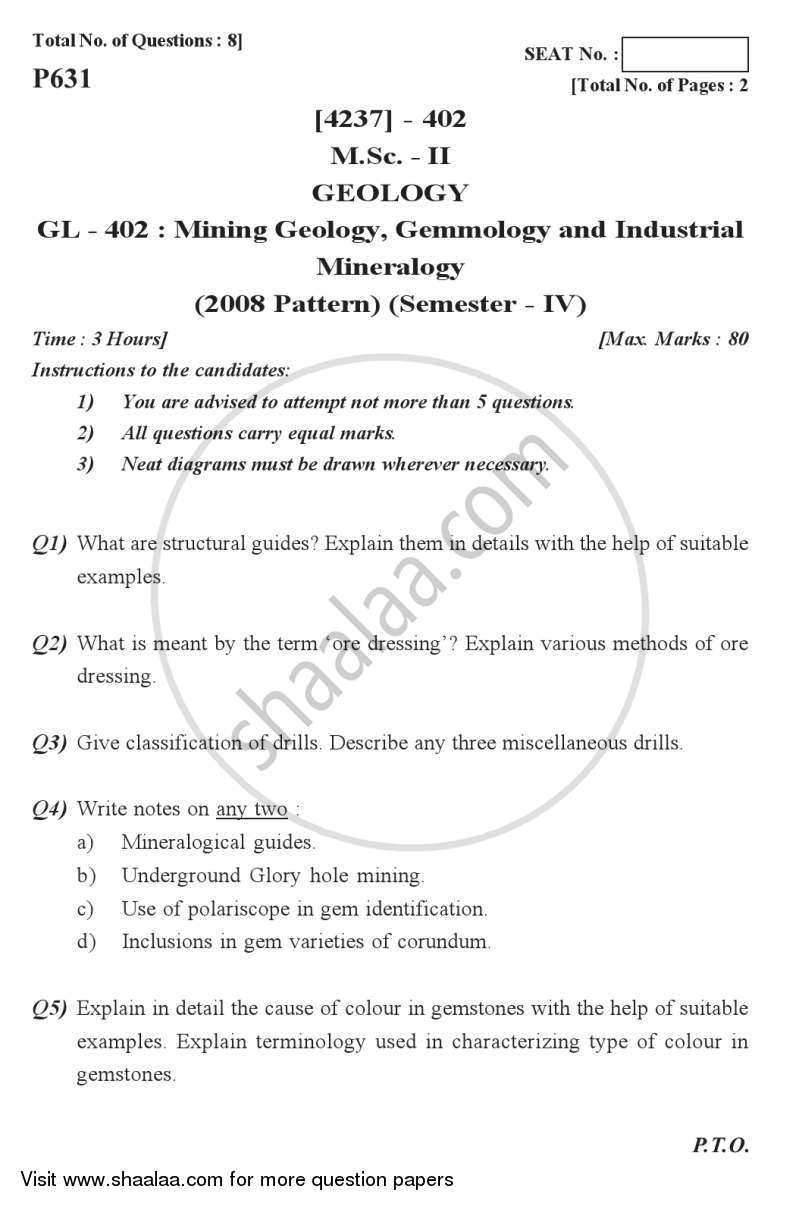 Question Paper - Mining Geology, Gemmology and Industrial Mineralogy 2012 - 2013 - M.Sc. - Semester 4 - University of Pune