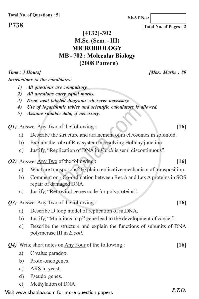 Question Paper - Molecular Biology 1 2011 - 2012 - M.Sc. - Semester 3 - University of Pune