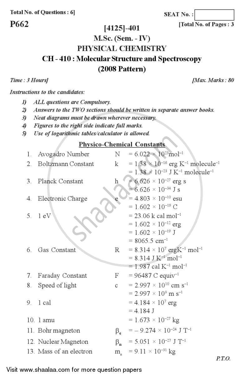 Molecular Structure and Spectroscopy 2011-2012 - M.Sc. - Semester 4 - University of Pune question paper with PDF download