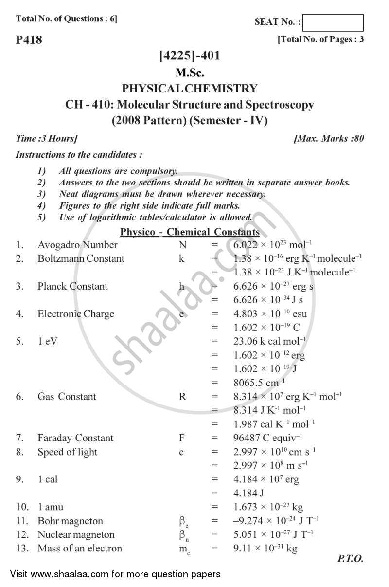 Question Paper - Molecular Structure and Spectroscopy 2012 - 2013 - M.Sc. - Semester 4 - University of Pune
