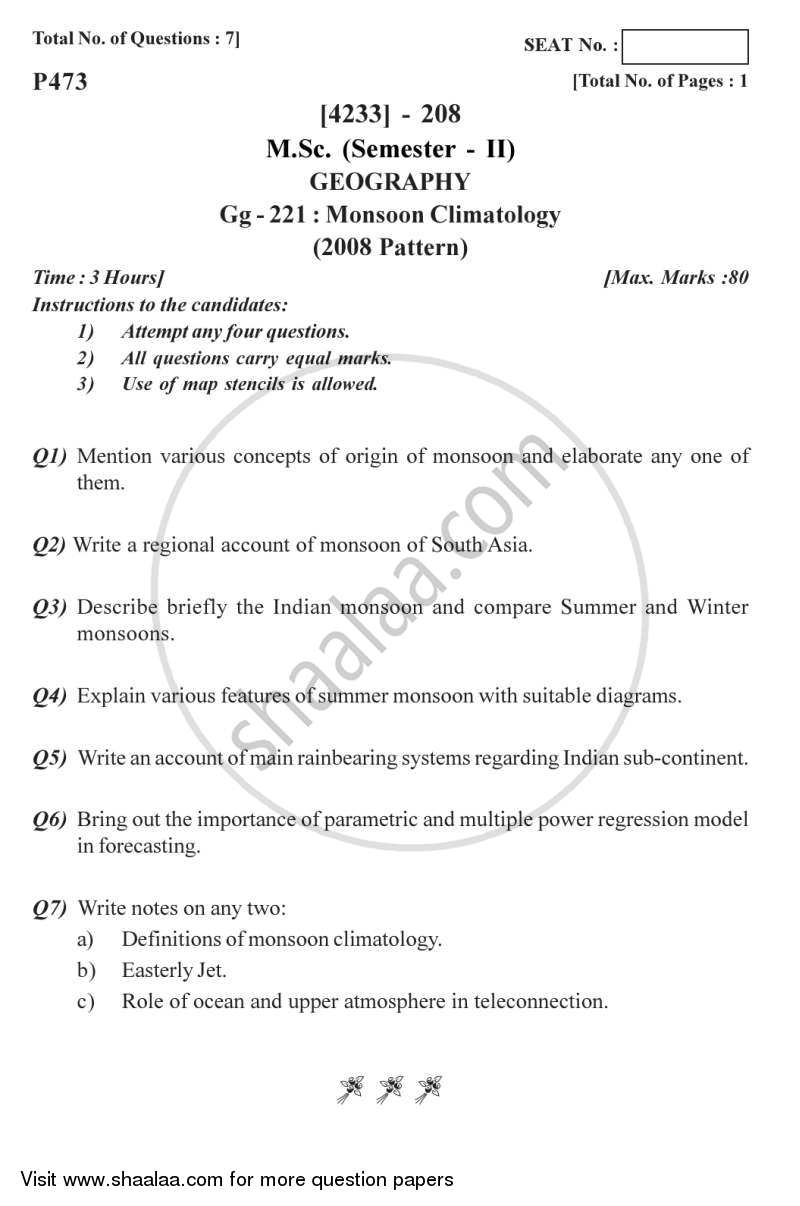 Question Paper - Monsoon Climatology 2012 - 2013 - M.Sc. - Semester 2 - University of Pune