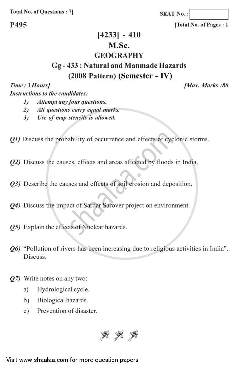 Natural and Manmade Hazards 2012-2013 - M.Sc. - Semester 4 - University of Pune question paper with PDF download