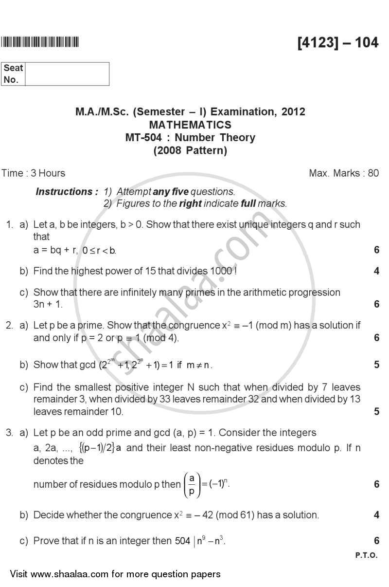 Question Paper - Number Theory 2011 - 2012 - M.Sc. - Semester 1 - University of Pune