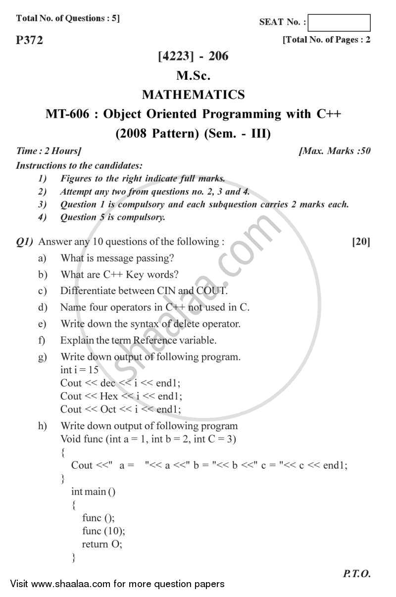 Question Paper - Object Oriented Programming Using C++ 2012 - 2013 - M.Sc. - Semester 2 - University of Pune