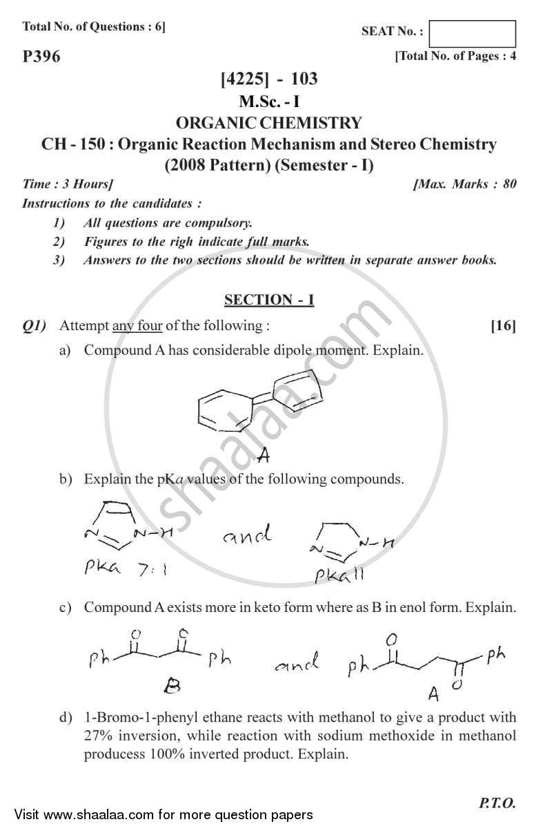Question Paper - Organic Reaction Mechanism and Stereochemistry 2012 - 2013 - M.Sc. - Semester 1 - University of Pune