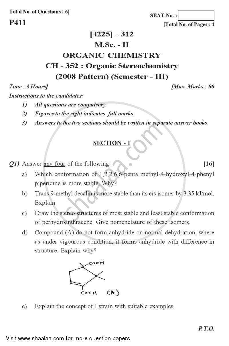 Question Paper - Organic Stereochemistry 2012 - 2013 - M.Sc. - Semester 3 - University of Pune