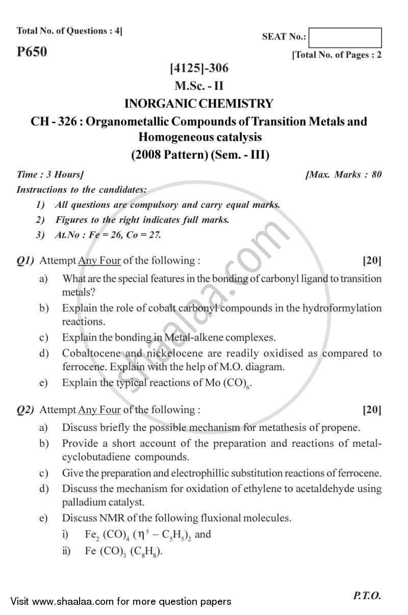 Question Paper M Sc Inorganic Chemistry Semester 3 Organometallic
