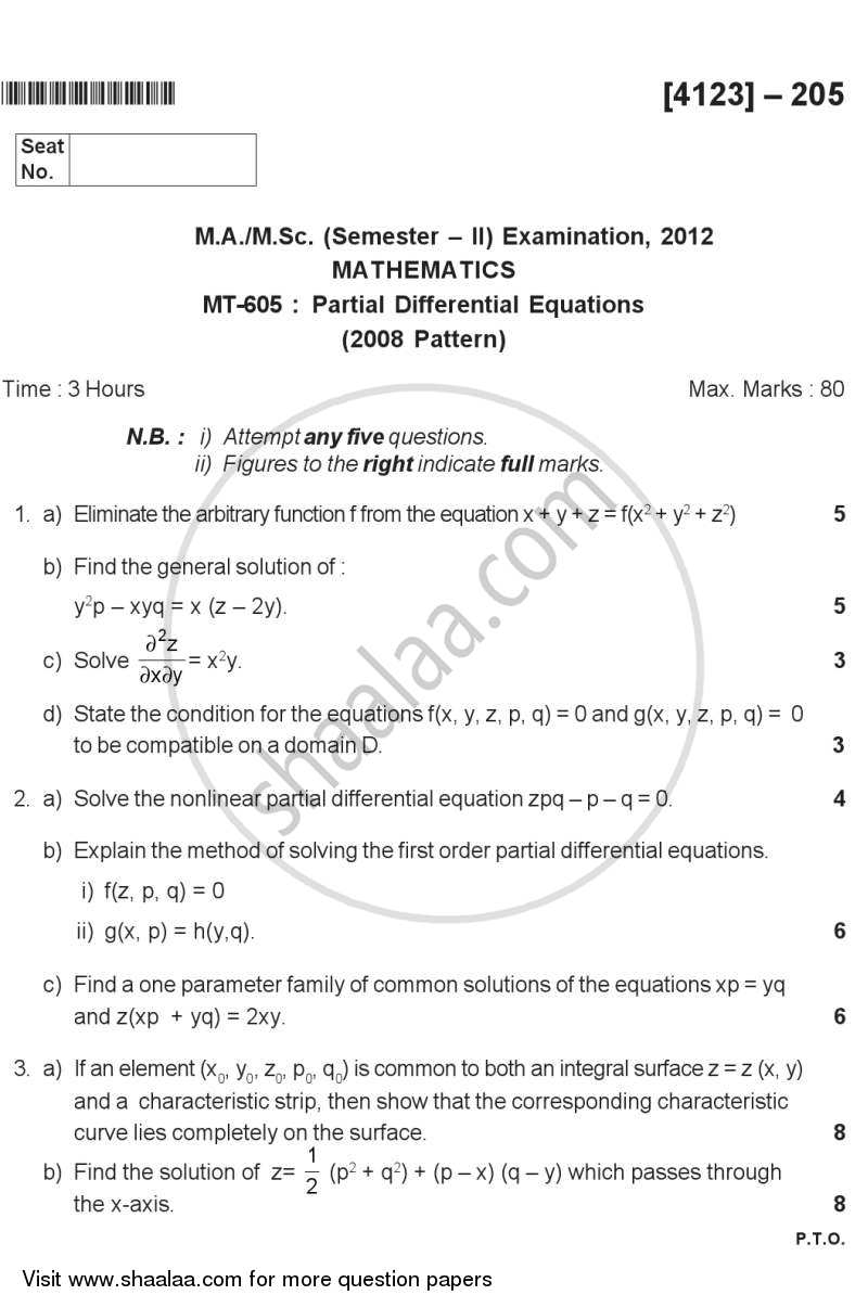 Question Paper - Partial Differential Equations 2011 - 2012 - M.Sc. - Semester 2 - University of Pune
