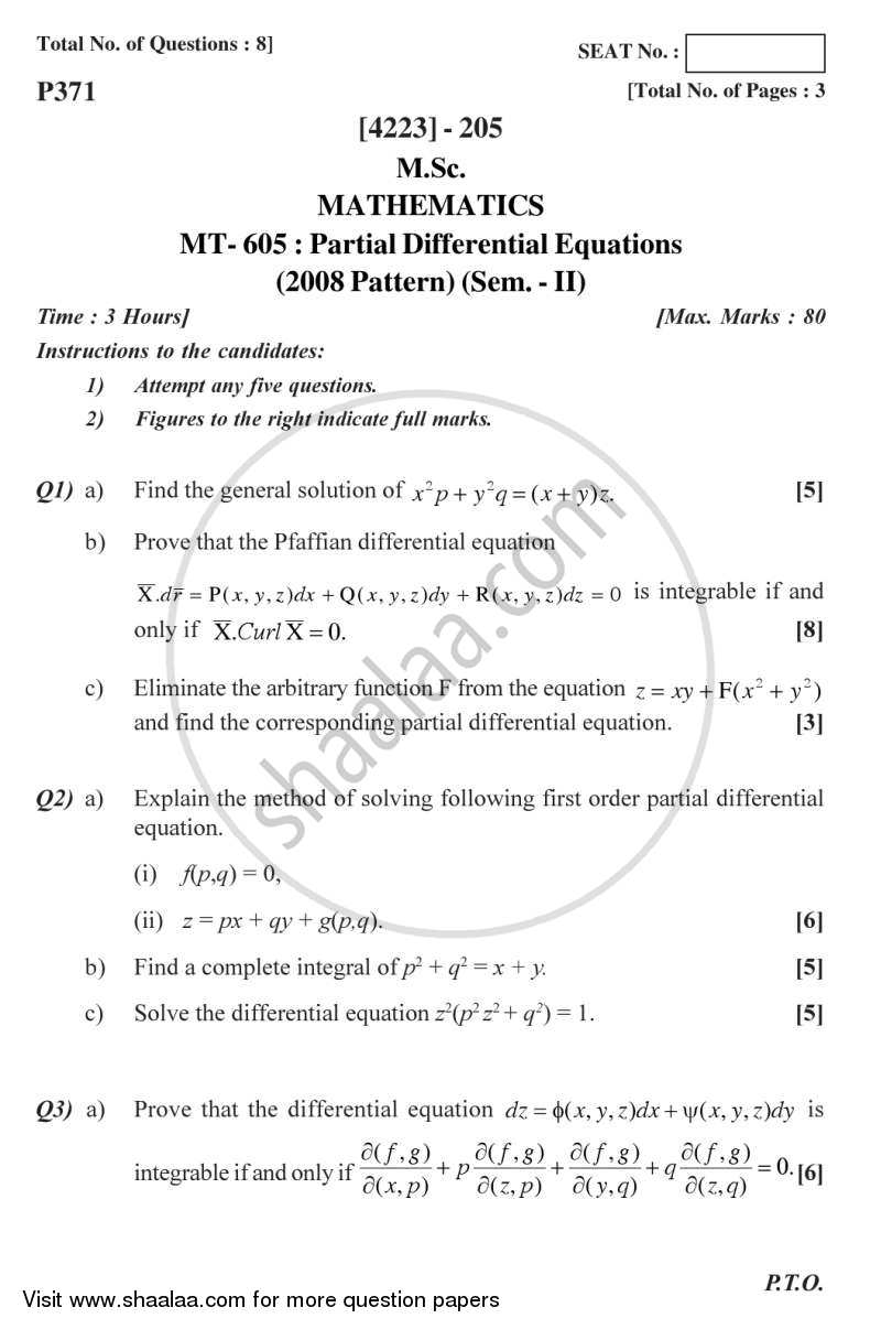 Question Paper - Partial Differential Equations 2012 - 2013 - M.Sc. - Semester 2 - University of Pune