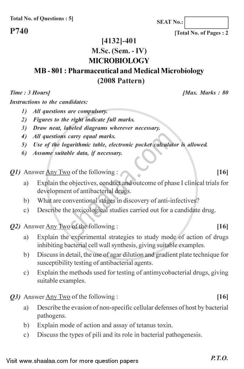 Pharmaceutical and Medical Microbiology 2011-2012 - M.Sc. - Semester 4 - University of Pune question paper with PDF download