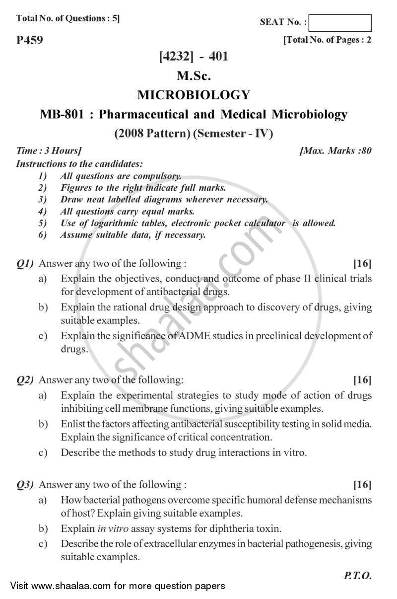 Pharmaceutical and Medical Microbiology 2012-2013 M Sc