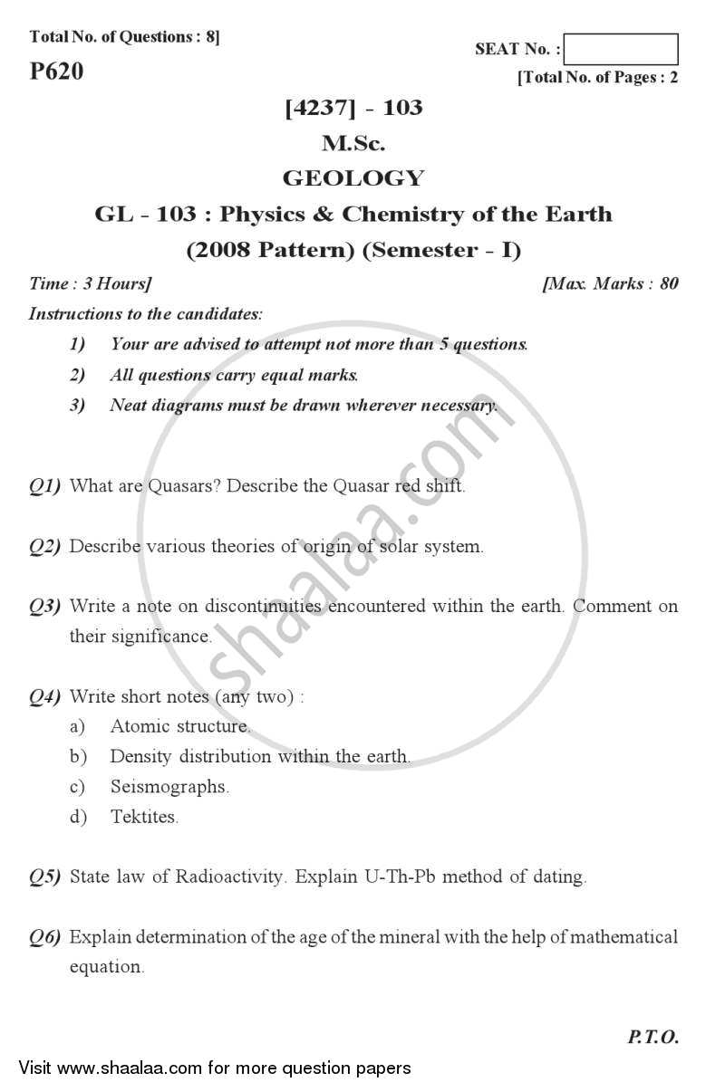 Question Paper - Physics and Chemistry of the Earth 2012 - 2013 - M.Sc. - Semester 1 - University of Pune