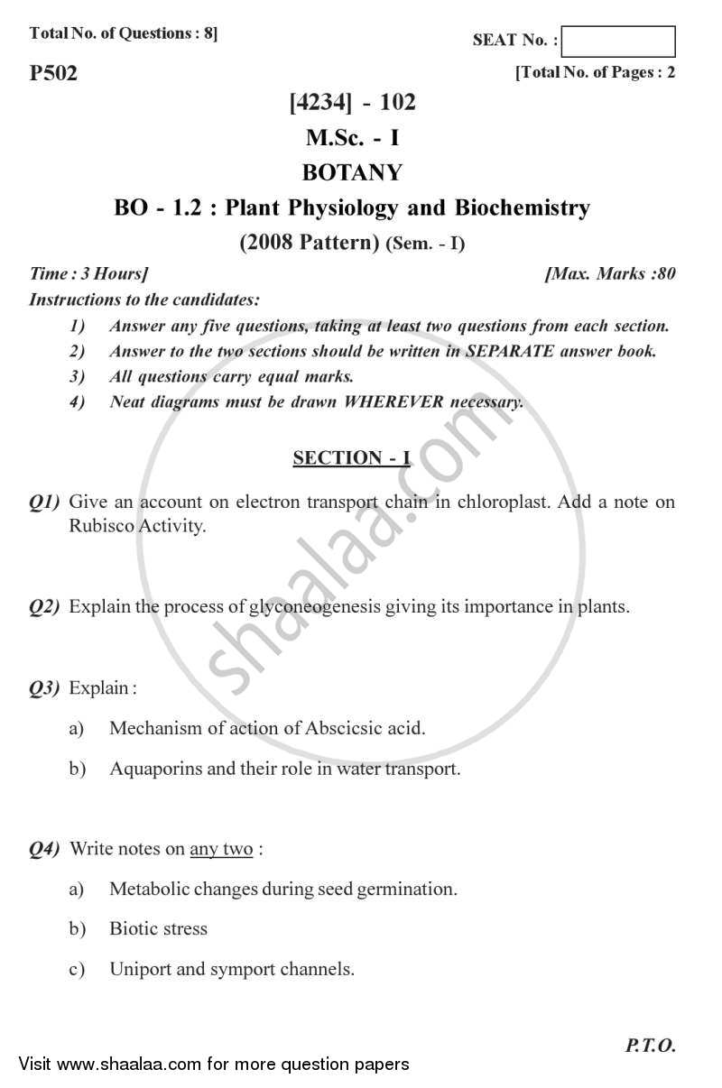 Question Paper - Plant Physiology and Biochemistry 2012 - 2013 - M.Sc. - Semester 1 - University of Pune