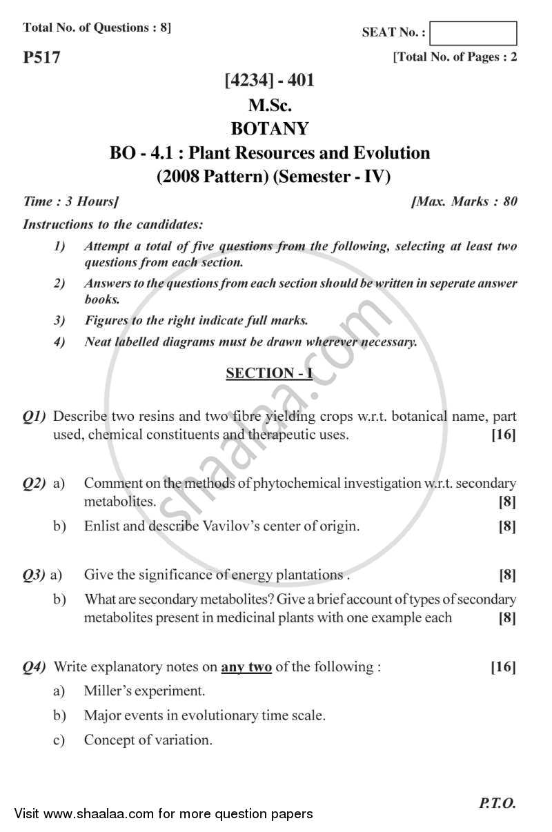 Question Paper - Plant Resource and Evolution 2012 - 2013 - M.Sc. - Semester 4 - University of Pune