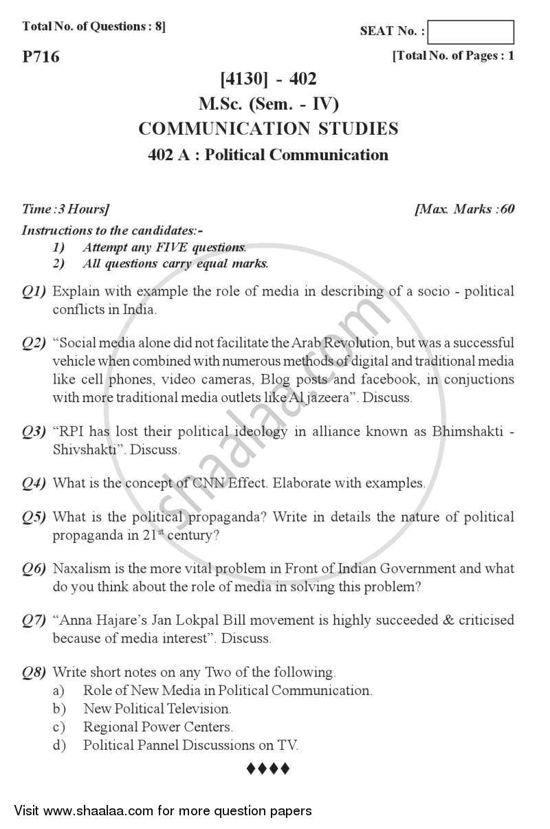 Question Paper - Political Communication 2011 - 2012 - M.Sc. - Semester 4 - University of Pune
