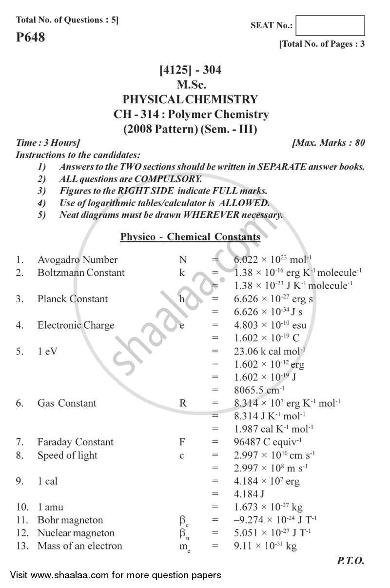 Question Paper - Polymer Chemistry 2011 - 2012-M.Sc.-Semester 3 University of Pune