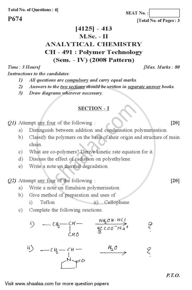 Question Paper - Polymer Technology 2011 - 2012 - M.Sc. - Semester 4 - University of Pune