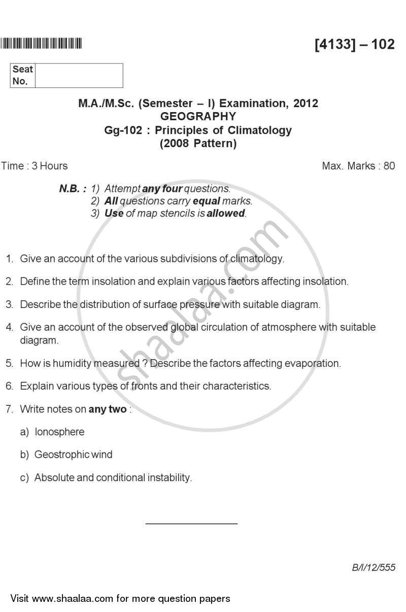 Principles of Climatology 2011-2012 - M.Sc. - Semester 1 - University of Pune question paper with PDF download
