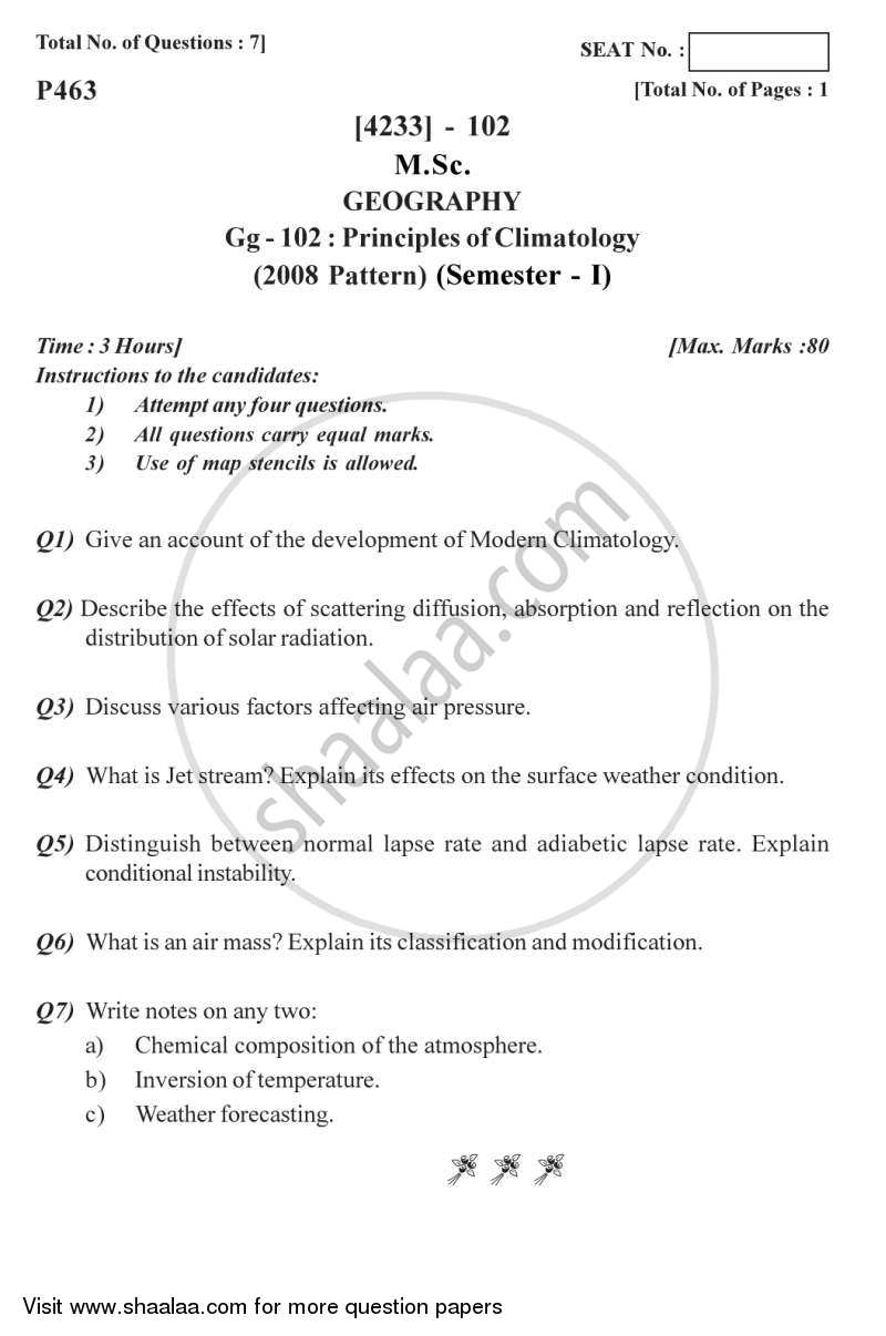 Question Paper - Principles of Climatology 2012 - 2013 - M.Sc. - Semester 1 - University of Pune