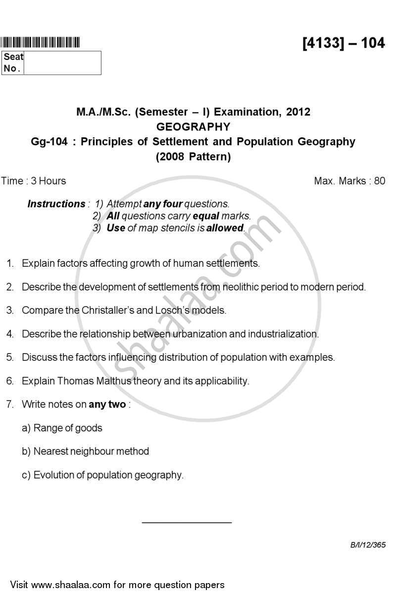 Question Paper - Principles of Population and Settlement Geography 2011-2012 - M.Sc. - Semester 1 - University of Pune with PDF download