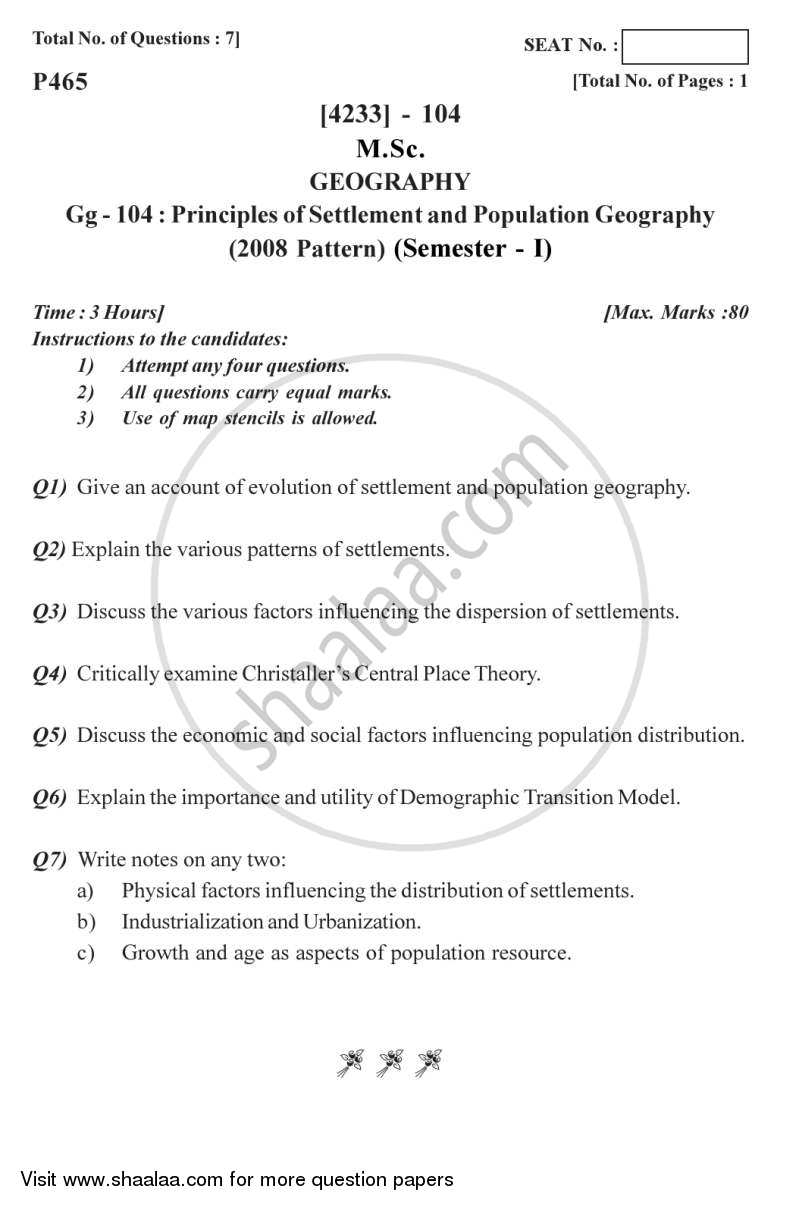 Question Paper - Principles of Population and Settlement Geography 2012 - 2013 - M.Sc. - Semester 1 - University of Pune