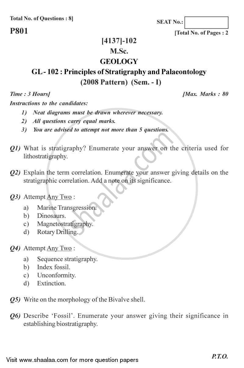 Question Paper - Principles of Stratigraphy and Palaeontology 2011 - 2012-M.Sc.-Semester 1 University of Pune