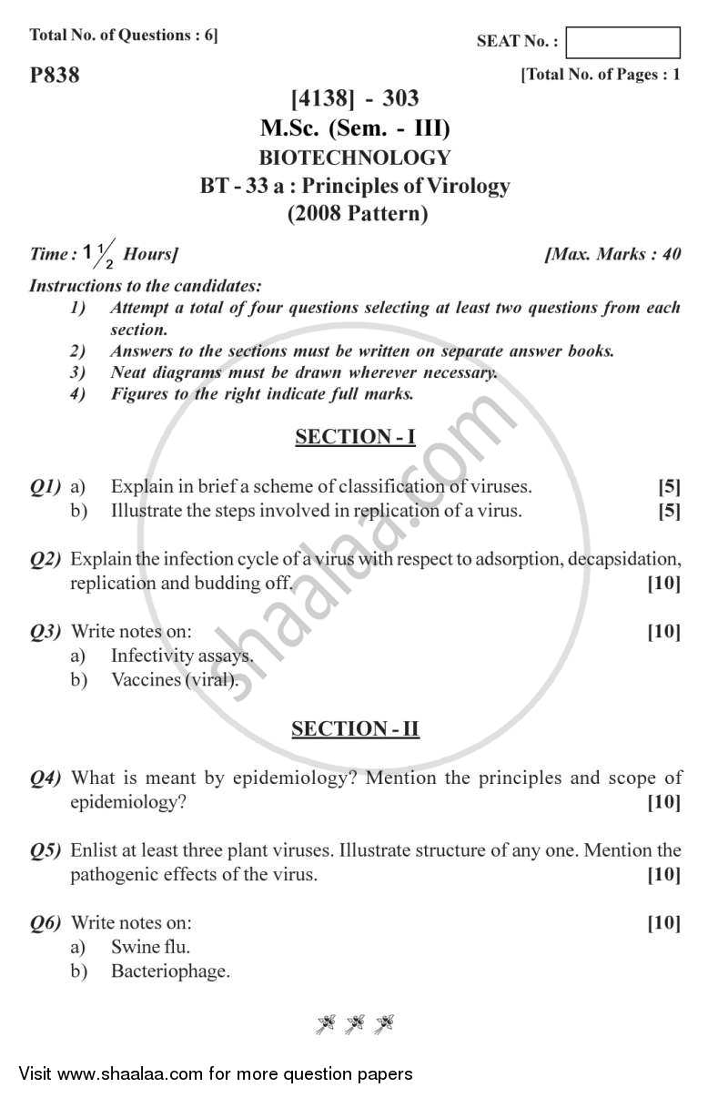 Question Paper - Principles of Virology 2011 - 2012 - M.Sc. - Semester 3 - University of Pune