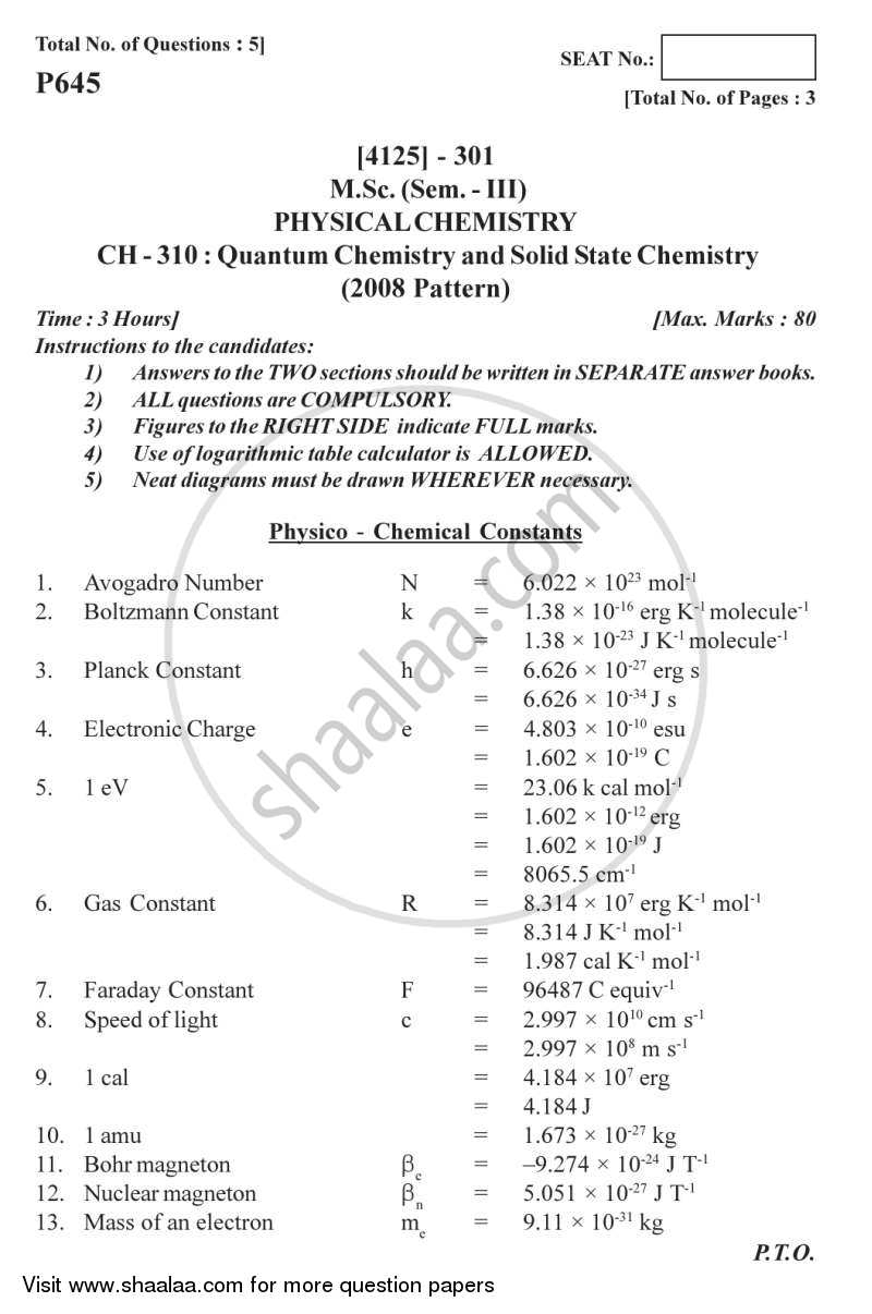 Question Paper - Quantum Chemistry and Solid State Chemistry 2011 - 2012 - M.Sc. - Semester 3 - University of Pune