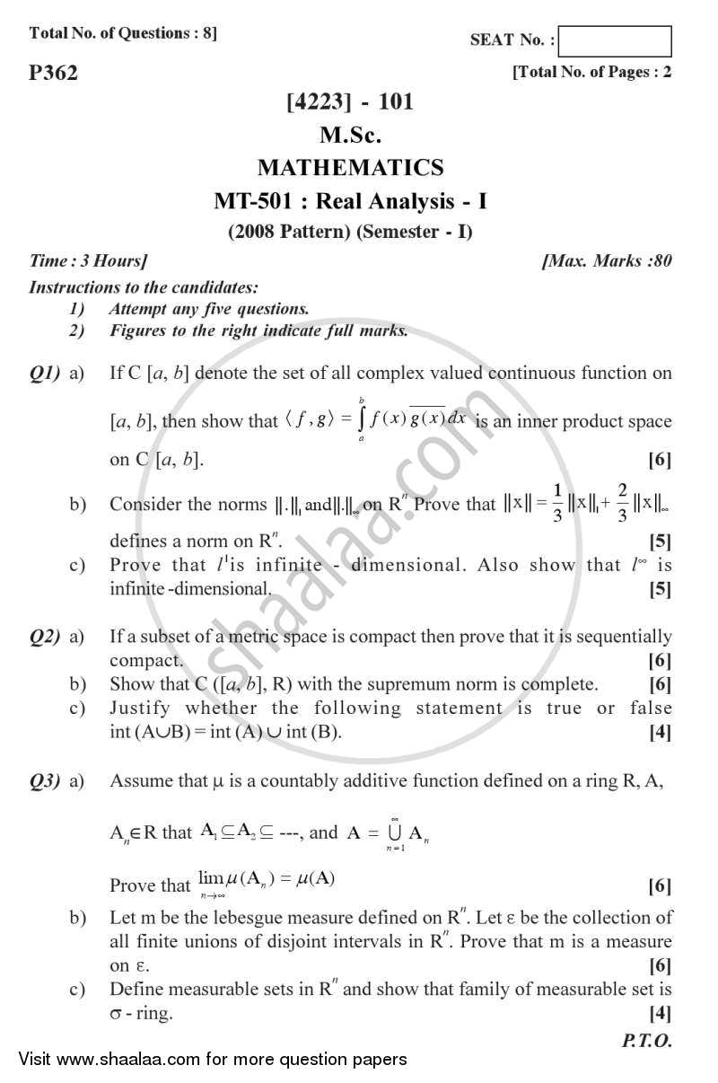 Real Analysis 1 2012-2013 M Sc Mathematics Semester 1
