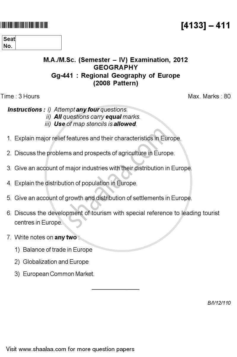 Question Paper - Regional Geography of Europe 2011 - 2012 - M.Sc. - Semester 4 - University of Pune