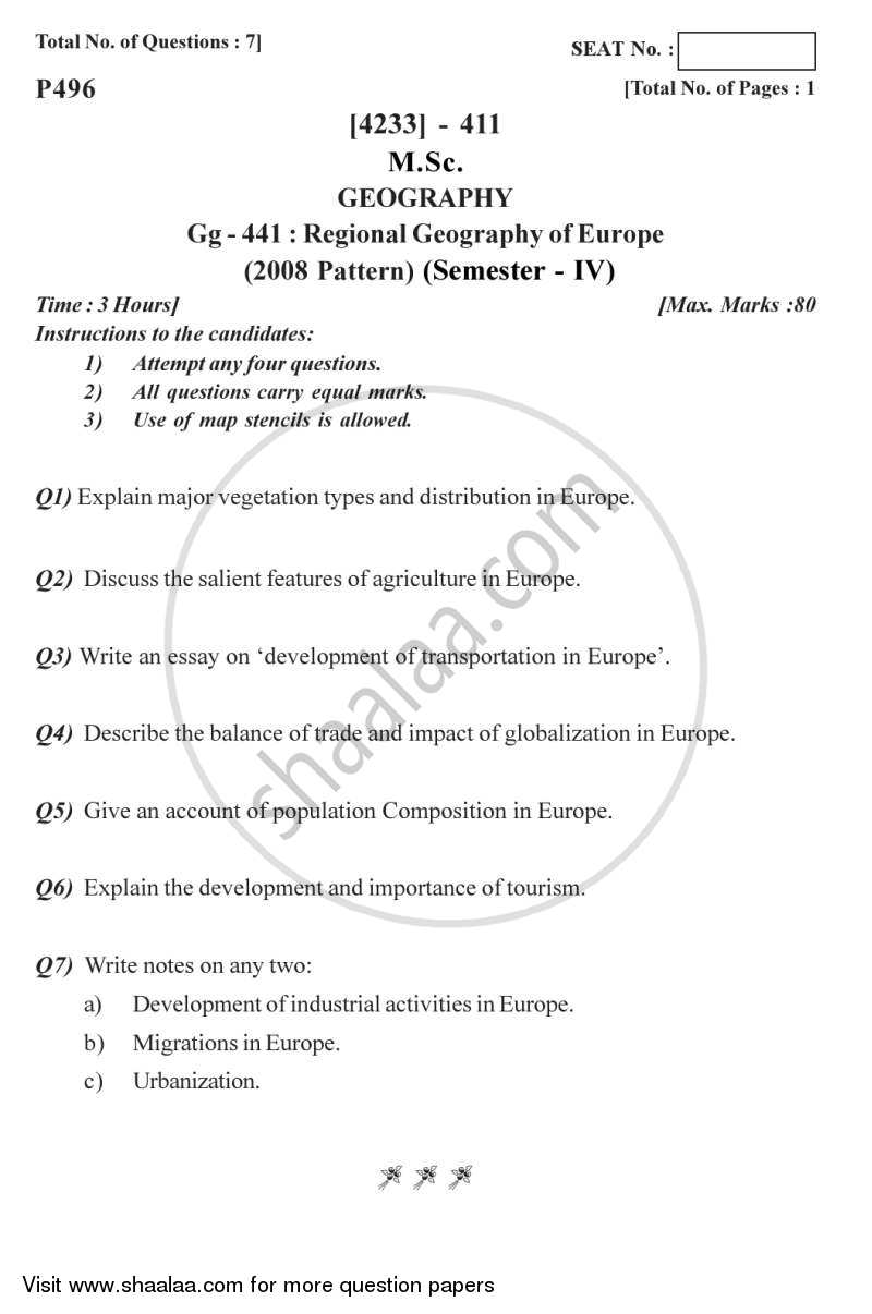 Question Paper - Regional Geography of Europe 2012 - 2013 - M.Sc. - Semester 4 - University of Pune