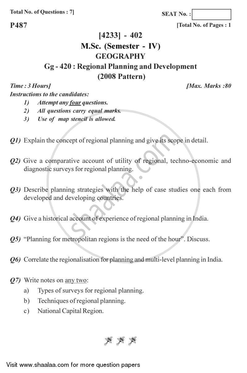 Question Paper - Regional Planning and Development 2012 - 2013 - M.Sc. - Semester 4 - University of Pune