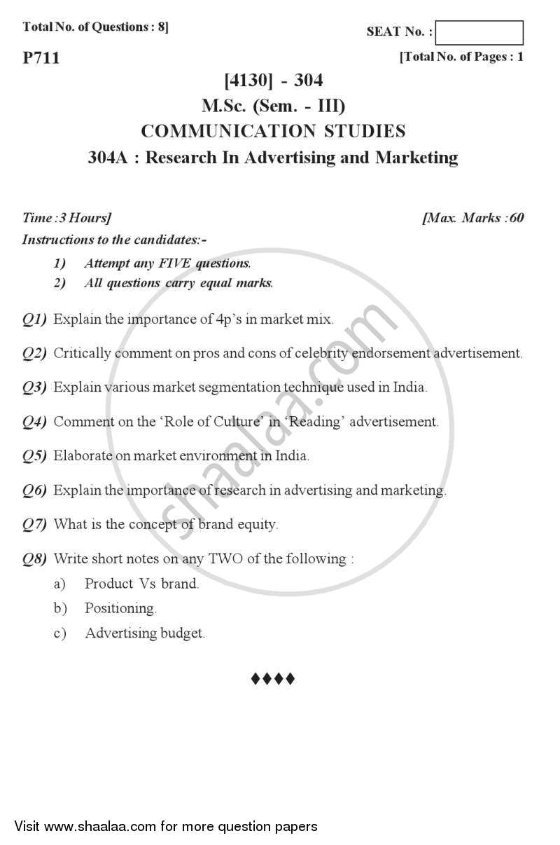 Question Paper - Research in Advertising and Marketing 2011 - 2012 - M.Sc. - Semester 3 - University of Pune