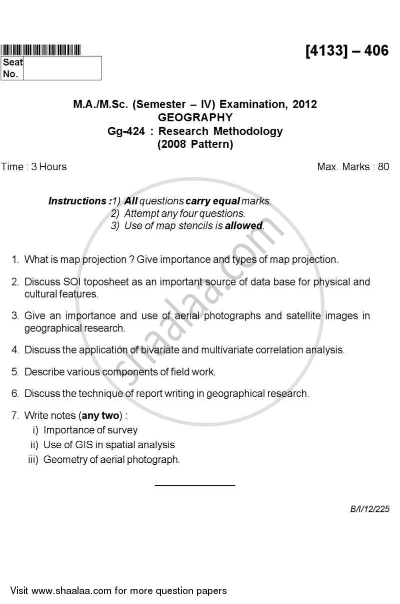 Research Methodology 2011-2012 M Sc Geography Semester 4