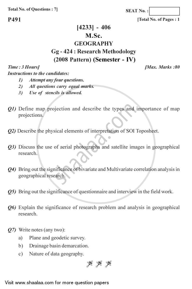 Question Paper - Research Methodology 2012 - 2013 - M.Sc. - Semester 4 - University of Pune