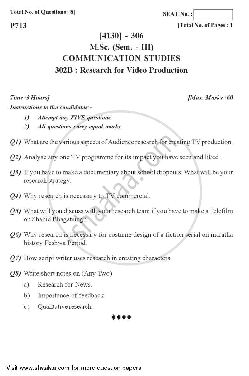 Question Paper - Research for Video Production 2011 - 2012 - M.Sc. - Semester 3 - University of Pune